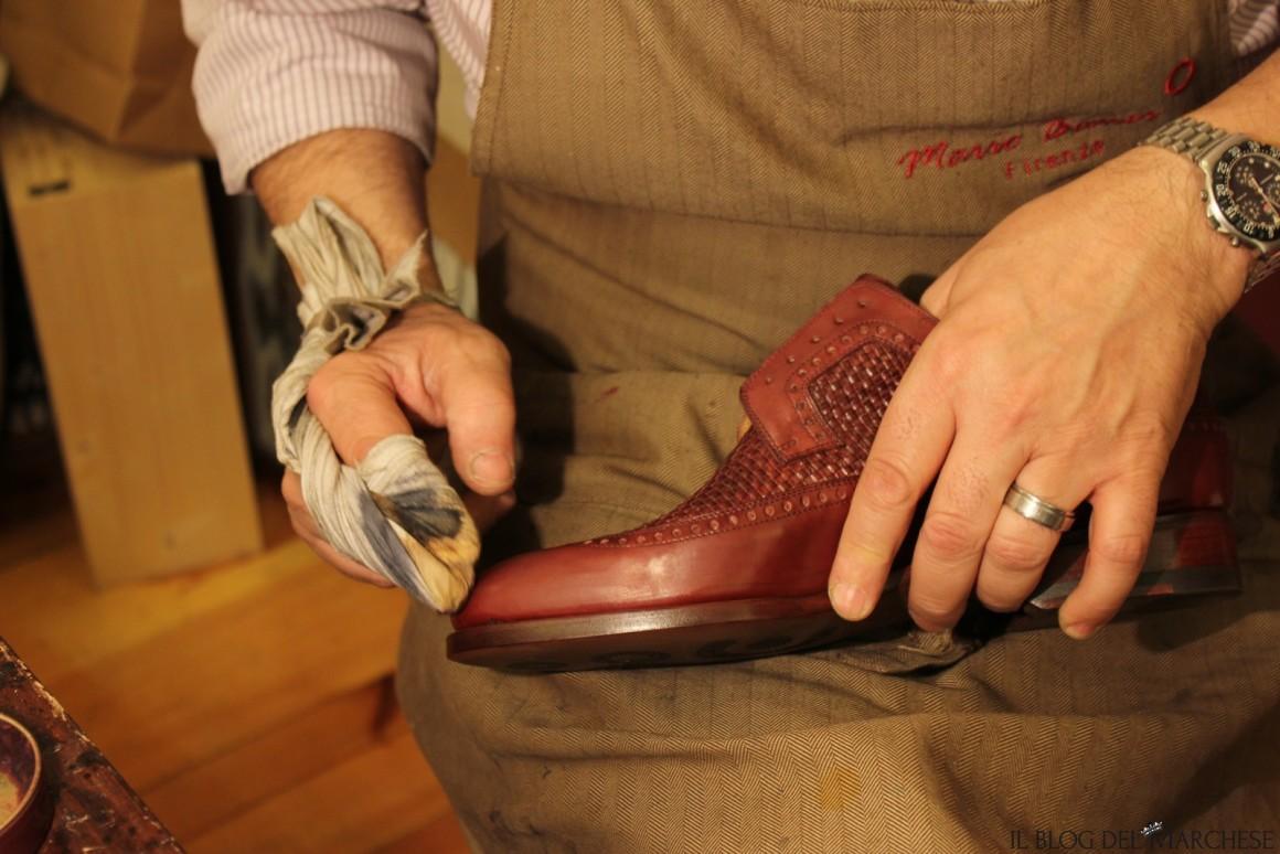 glassatura della scarpa