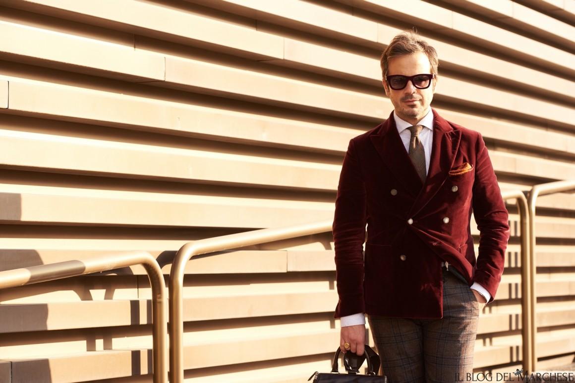 giacca velluto rosso dopio petto